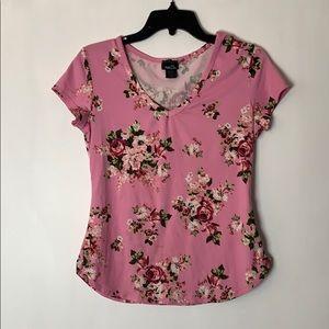 Rue21 Pink Floral Short Sleeve T-Shirt Size Medium